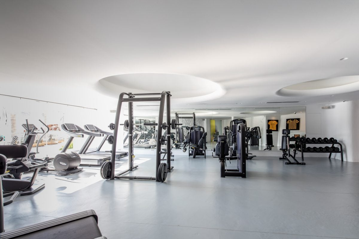 High technology Technogym equipment at the fitness and wellness center in Mykonos Blanc.